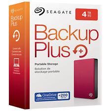 NEW Seagate Backup Plus 4TB Portable External Hard Drive USB 3.0 Red STDR4000902