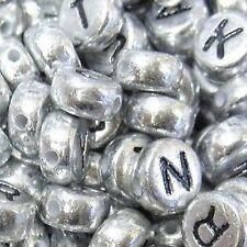 100 pieces 6.5mm Silver Mixed Alphabet Letter Beads - A5210