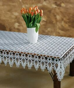 """High quality, white, rectangular crochet guipure lace tablecloth 47"""" x 63"""""""
