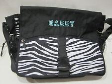 PB Teen Gear Up Black White Zebra Messenger Bag with name GABBY New!