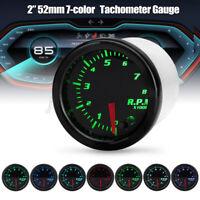 """Universal 2"""" 52mm 7 Farben LED Auto Tacho Tachometer Geschwindigkeitsmesser"""