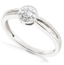 10K White Gold Diamond Solitaire Ring Round diamond Promise Engagement Ring