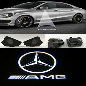 2x AMG Mirror LED Puddle Lights Projector Welcome Logo Emblem for Mercedes Benz