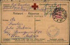 Feldpostkarte 1917 Zensur-Stempel WIEN Rotes Kreuz Portofreie Antwortkarte
