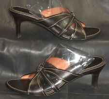 Cole Haan Brown leather open toe mules sandals slides heels size 7 AA