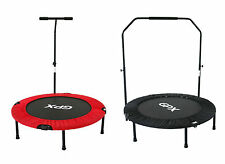 "FOLDABLE FITNESS MINI TRAMPOLINE JUMPER REBOUNDER + STABILITY BAR - 36"" 40"" 48"""