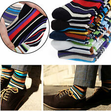 5 Pairs Lot Men's Designer Fashion Dress Socks Multi Color Casual Striped Style