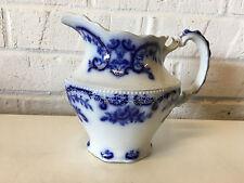 Antique WH Grindley Portman Pattern Flow Blue Pottery Pitcher