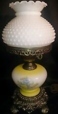 Vintage 1971 L&LWMC Parlor Lamp Gone Wi The Wind Floral Hobnail Milk Glass Shade