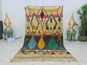 "Moroccan Boujaad Vintage Handmade Rug4'2""x6'7""Berber Geometric Yellow Black Rug"