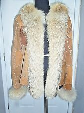 SEXY NWOT ADRIENNE LANDAU SUEDE LEATHER COYOTE FUR JACKET COAT.SZ SMALL.VERY HOT