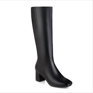 Women's Western Square Toe Zip Block Heel Knee High Combat Knight Boots Shoes