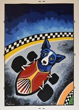 George Rodrigue Blue Dog Thunder Road Silkscreen Print Signed Numbered Artwork