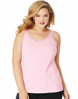 Just My Size Stretch Jersey Cotton Lace Trim Women Camisole Top Cami Plus Size