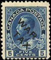 1915 Mint NH Canada F Scott #MR2B 5c OVERPRINTED War Tax Stamp