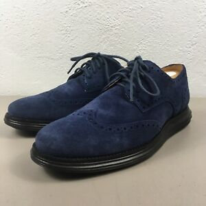 Cole Haan Lunargrand C12449 Blue Suede Wingtip Shoes Mens 9