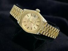 Ladies Rolex Solid 18K Yellow Gold Datejust President Watch BARK Champagne 6927