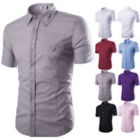 Men's Summer Slim Fit Short Sleeve Casual Button Down Dress Shirts T-shirt Tops