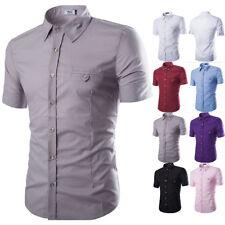 Men's Summer Slim Fit Short Sleeve Casual Button Down Dress Shirts T-shirt Tops
