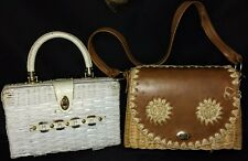 Vintage Wicker Hand Bags Purse Basket Weave White