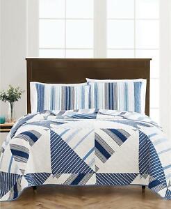 Martha Stewart Reversible Printed Geometric Sails Twin/Twin XL Quilt Blue $160