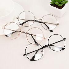New Women Men Large Metal Frame Clear Lens Round Circle Eye Glasses Nerd Vintage