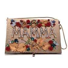 DOLCE & GABBANA Crystals Roses Embellished Metallic Box Clutch MAMMA Bag 05721