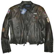 NEW EXTREMELY RARE RALPH LAUREN POLO RRL LEATHER MOTORCYCLE JACKET PATCHES M