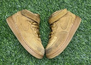 NIKE AIR  FORCE 1 MID LV8 (TD) LITTLE KID SIZE 10c WHEAT 859338-701
