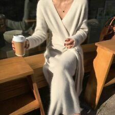 Women Sweater Dress Cashmere Long Sleeve Belted Warm V Neck Knitted Maxi Dresses