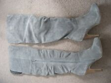 Ladies Size 6 NEXT High Heel Grey Suede Thigh Length Boots