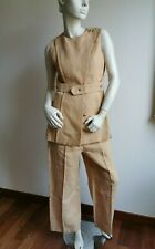 RRP €1,180🌟MAX MARA Vest+Pants SUIT 100%FLAXLINEN   USA8 _ IT42_D38_ GB10_ FR40