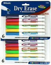 12 Dry Erase White Board Markers Fine Point Tip Bright Assorted Colors New