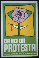 PROTEST SONG Famed Cuban Silkscreen Poster for 1967 Havana Cuba Music Conference