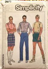 3cd57c3262f0c Simplicity Pattern 7671 | Mens Retro Straight Leg Pants & Shorts, Sz XXL  UNCUT
