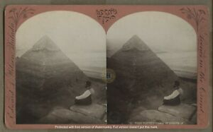 Vintage Cheops Pyramid of Giza Egypt Stereoview Photograph by Wilson c. 1882