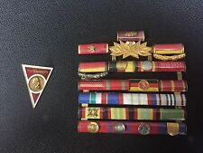 East German Medal Army General Ribbon Bar And Academy Badge Rare