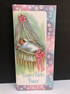 Vintage Baby's Photo Diary Multicolor Baby In Bassinet Pink Flowers Baby Book