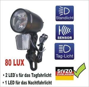 80 Lux Fahrrad Beleuchtung Fahrradlicht Fahrradlampe Dynamo Nabendynamo StVZO