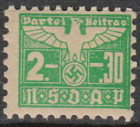 Stamp Germany Revenue WWII 1935 3rd Reich War Era Party Dues 02.30 MNH