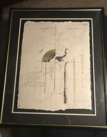 MYSTERY SIGNED ORIGINAL MIXED MEDIA CUBISM GEOMETRIC LINEAR ABSTRACT PAINTING