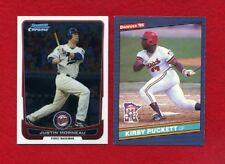 Justin Morneau Bowman Chrome 2012 & Kirby Puckett 1986, 2 Minnesota Twins