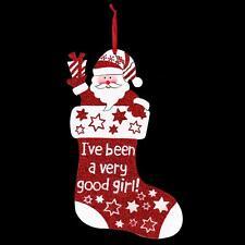 Navidad Rojo con Purpurina Placa Decoración - Calcetín BUENA niña