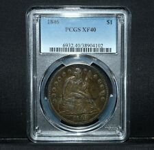 1846-P SEATED LIBERTY DOLLAR ✪ PCGS XF-40 ✪ $1 SILVER EXTRA FINE L@@K ◢TRUSTED◣