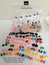 130 pc. Assort Safety Eyes, Noses, Buttons 5mm to 12mm  Amigurumi, Sew, Crochet