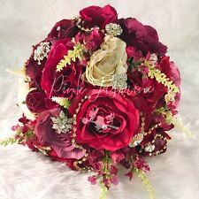 Bella artificial silk pink rose jewel bridal bouquet