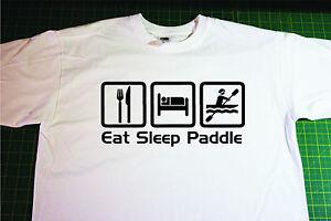 Eat, Sleep, kayak T-Shirt. In White. Size Large. Canoe, canoeing