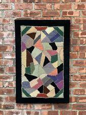Spectacular Circa 1940s Americana Hooked Rug. Rag Rug Abstract Geometric Pattern
