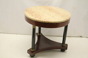French Empire Mahogany & Ebony Side End Table With Marble Top & Bronze Mount 19T
