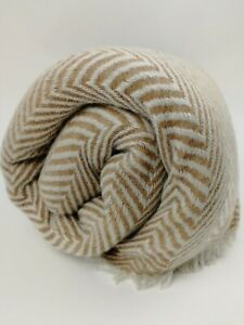 Cashmere Blanket Throw Travel Wrap Handmade NEPAL Home brown herringbone weave